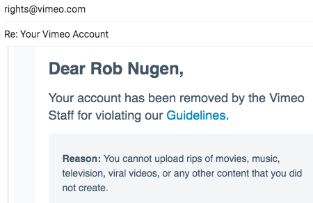 Vimeo terminated my PRO account