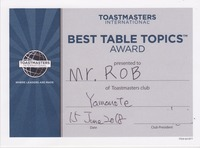 best table topic 2018 june 15