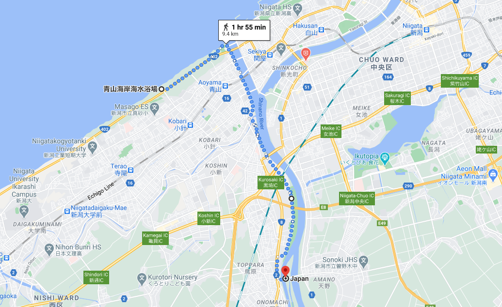 54 walk 09 km from staircase to Aoyama Seaside Park