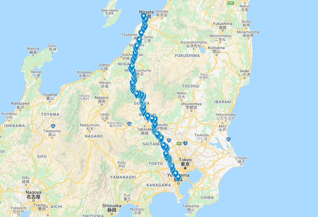 Route across Honshu (dates listed at this link are wrong; locations are off.  Refer to details below the map on this page)
